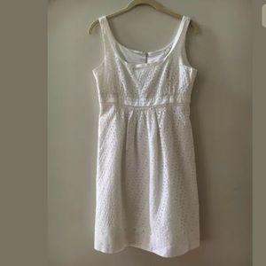 Tahari White Cotton Sleeveless Lace Eyelet Dress